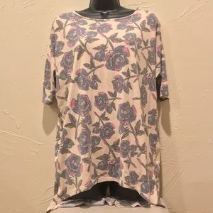 Lularoe Womens Small Cream Shirt w/ Flower Design